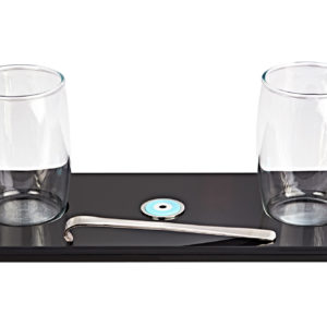 Plexi glass tray espresso set with two coffee glasses and sterling silver spoon