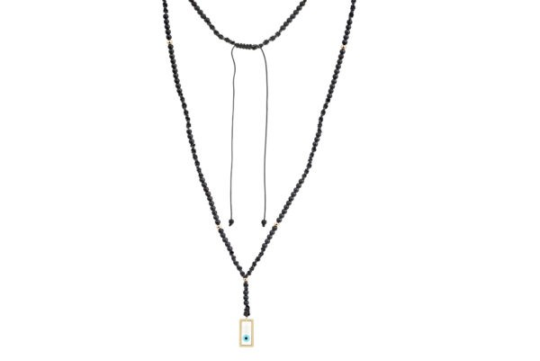 Evil eye rosary set with 14-karat yellow gold beads and motif. The rosary is made of 3mm black hematite stones. Macrame closure. It is a piece that can be worn by both men and women.