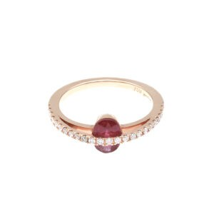 rose gold, ruby and diamond ring