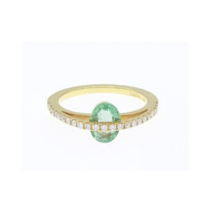 oval emerald 0,88cts and diamonds