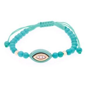 9-karat gold and green ceramic evil eye bracelet set