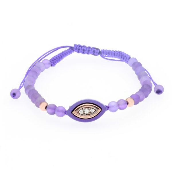 rose gold and purple ceramic evil eye bracelet
