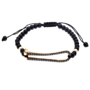 padlock bracelet with 50 black diamonds